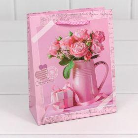 """Пакет подарочный матовый """"Цветы"""" (микс) 12*15*5,5"""