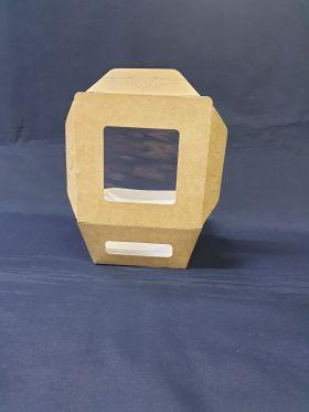 Ланч-бокс с окном 400мл, крафт картон